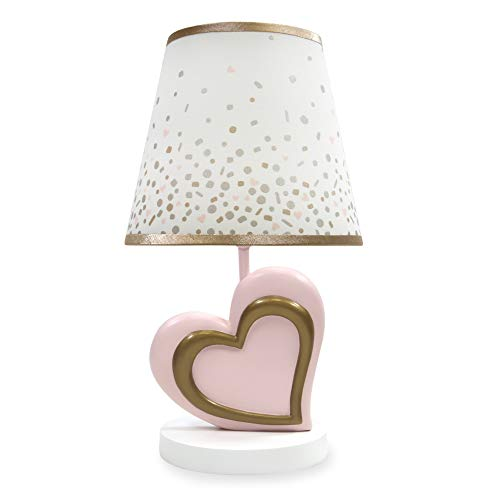 Lambs & Ivy Confetti Heart Lamp with Shade & Bulb, Pink/Gold