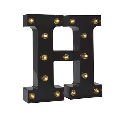 Light up Letters LED Letter Black Alphabet Letter Night Lights for Home Bar Festival Birthday Party Wedding Decorative (Black Letter H)