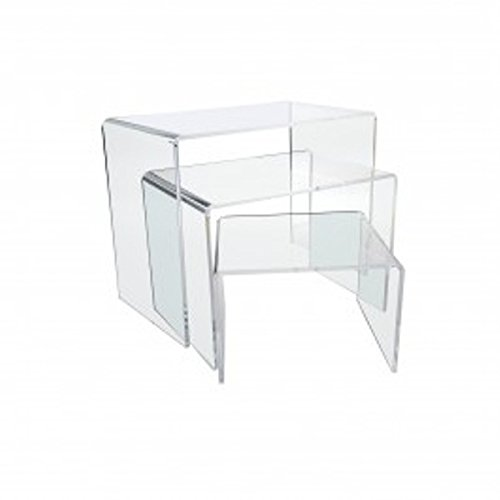 Marketing Holders Set of 3 Acrylic Risers 4'', 6'', 8'' Display Stand Holder (Clear) by Marketing Holders