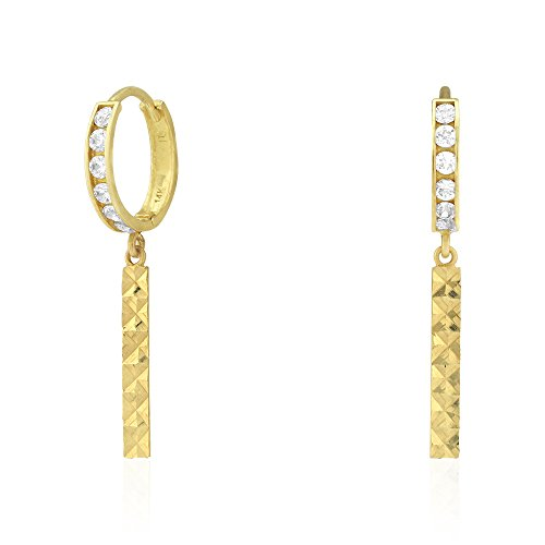 14k Yellow & White Gold Diamond Cut CZ Bar Dangle Huggie Hoop Earrings 1.1