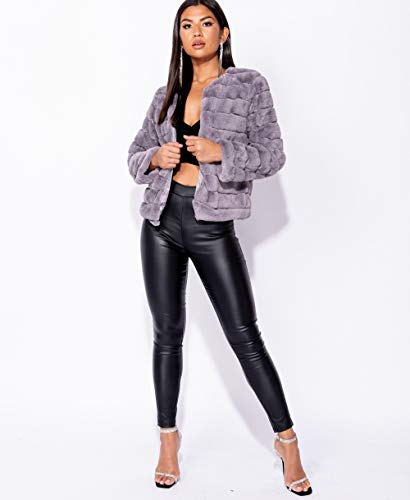 Cropped to 14 Ladies Faux UK Size Grey Party Edge Evening Edge 6 Fur Jacket Glam twA47qxA