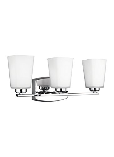 Sea Gull Lighting 4423003-05 Waseca - 100W Three Light Bath Vanity, Chrome Finish with Etched/White (Chrome Etched Bath)