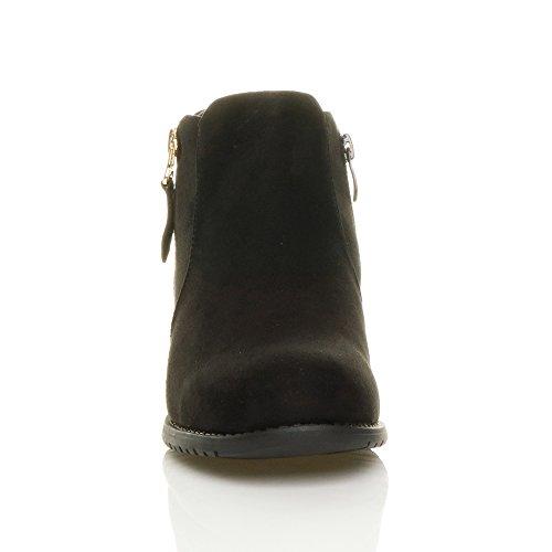 Heel Biker Pixie Ankle Boots Suede Size Black Riding Gold Ladies Zip Low Booties Womens Block ZqHTx4