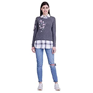ICABLE-Womens-Fashion-Stretchy-Collared-Neck-Long-Sleeve-Pullovers-Sweaters-Top