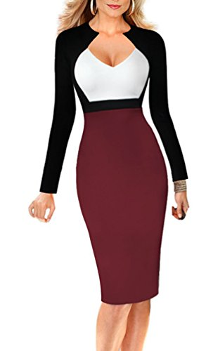 HowFitU Womens Patchwork Chic V-neck Slim Sexy Work Business Dress