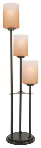 D/BRZ Bess 3-Light Table Lamp with Amber-Glass Shades, Dark Bronze (Chrome Three Shade Lamp)