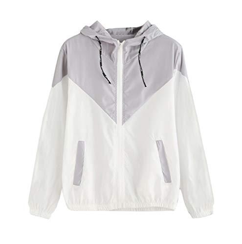 Jacket Sleeve Zipper Long TUDUZ Hoodies Pockets up Hooded Patchwork Coat Outerwear Sport Thin Gray Autumn Women Women Skinsuits nqvaXYYw