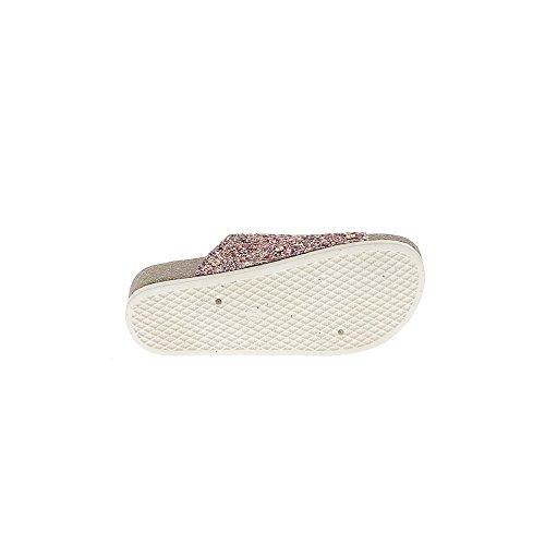 Rosso zeppa di muli di 5cm e 2cm spesse suole metallizzato