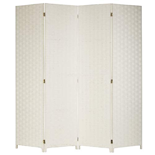 - MyGift Shabby Chic 4-Panel Woven Seagrass Partition Room Divider/Privacy Screen, White