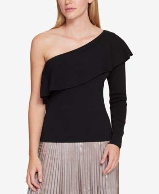 (Tommy Hilfiger Womens Flounce One Shoulder Casual Top Black XL)