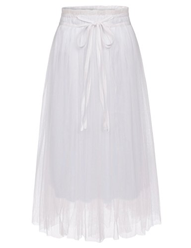 NEARKIN (NKNKWLSK62 Lady Waistband Drawstring 3 Layer Tulle Tutu Midi Skirt White US XXS(Tag Size XS) ()