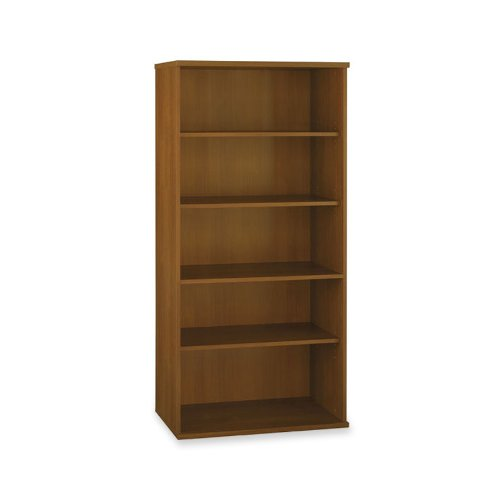 Bush Open Double Bookcases, 35-5/8-Inch by 15-3/8-Inch by 72-7/8-Inch, Warm (Open Single Bookcase)