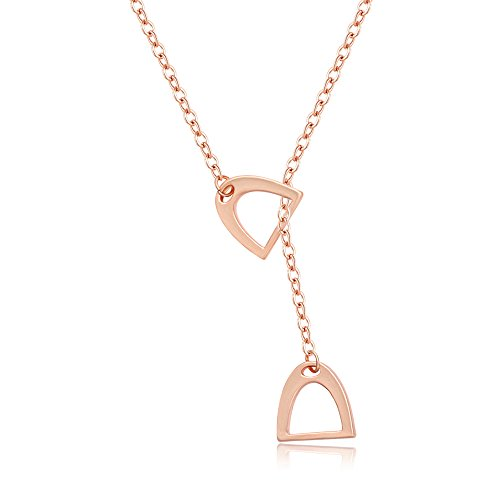 Gifts Equestrian Jewelry Horse (MANZHEN Personality Equestrian Jewelry Double Horse Stirrup Lariat Y Necklace (rose gold))