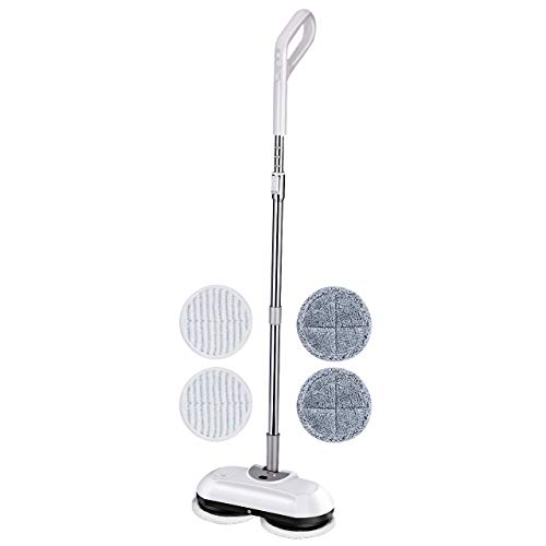 Homitt Upgraded Electric Spin Mop Floor Scrubber, Cordless Power Spray Floor Mop with Adjustable Handle and 4 Replaceable Microfiber Mop Pads for Cleaning Hardwood Floor and Tile