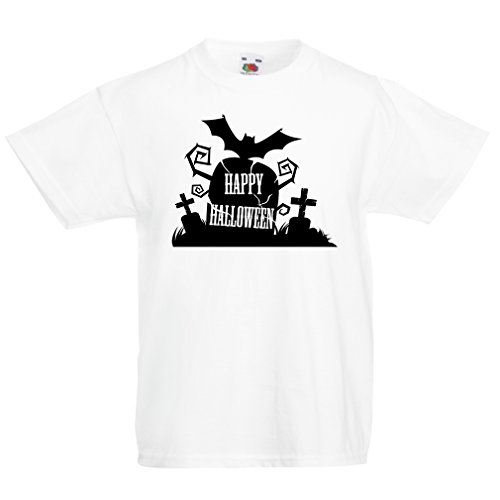 lepni.me Kids Boys/Girls T-Shirt Halloween Graveyard Outfits - Costume Ideas - Cool Horror Design - All Saints' Eve - All Hallows' Evening (12-13 Years White Multi (Trailer Park Boys Halloween Outfit)