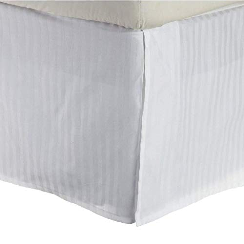 Dan River Bedskirt - Dan River White Micro Striped (Pinstriped) Bed Skirt/Dust Ruffle (Hotel King 71X80X14)
