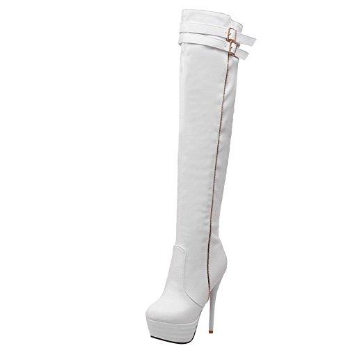 Carolbar Women's Western Buckle Stiletto Long Boots White