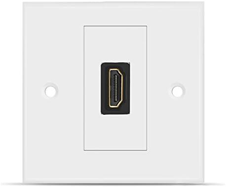 TNP Placa Frontal de Pared HDMI Puerto Individual 4K Tamaño Estándar Enchufe HDMI Placa Decorativo Panel de Montaje con 4K UHD ARC Ethernet Pass-Thru Alta Resolución Alta Velocidad Blanco: Amazon.es: Electrónica