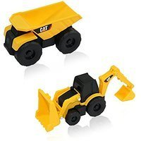 (Road Rippers CAT Mini Machine Dual Axle Dump Truck and Backhoe Free-Wheeling Compact Construction Vehicle Toys with Adjustable Parts (2 Pack))