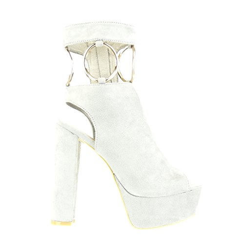 Angkorly - Zapatillas de Moda Botines Sandalias zapatillas de plataforma abierto sexy mujer Hebilla tanga dorado Talón Tacón ancho alto 13.5 CM - Gris