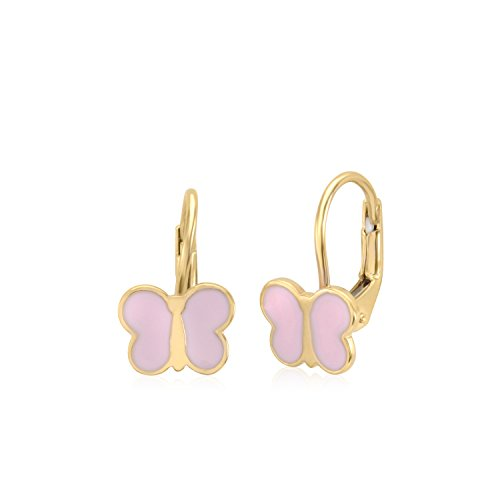 UNICORNJ 14K Yellow Gold Childrens Cute Butterfly Leverback Earrings with Light Pink Enamel Italy