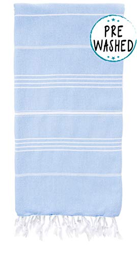 Wetcat Original Turkish Beach Towel (37 x 70) - Prewashed Peshtemal, 100% Cotton - Highly Absorbent, Quick-Drying & Ultra-Soft - Washer-Safe, No Shrinkage - Stylish, Eco-Friendly (Basic Light Blue)