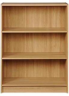 Timber Art Design Low Wide Bookcase Storage Display Shelving Oak Effect Living Room Furniture