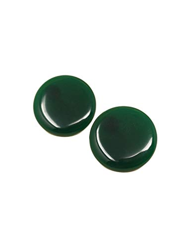 Sidecca Vintage Style Round Acrylic Clip On Earrings (Hunter Green) ()