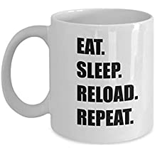 Eat Sleep Reload Repeat Mug - Funner Gift Ideas For Gamer PC Video Game Players, 11 Oz Coffee Cup