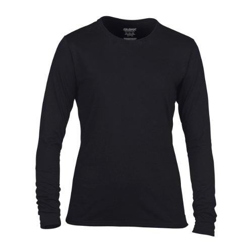 Gildan- Camiseta de manga larga fina Performance para mujer señora Negro