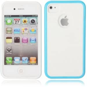 Dual Color Style Protective TPU Back Case for iPhone 4/4S White & Azure