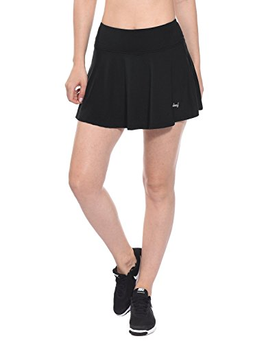 Baleaf Women's Athletic Pleated Tennis Golf Skirt with Pockets Black Size XL