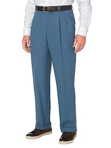 Paul Fredrick Men's Tencel \ Linen Pleated Pant Dusty Blue 34