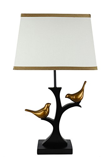 (Urbanest Resting Bird Table Lamp with Shade, Black with Gold Birds and Cream and Gold-Trim Shade, Bird Lamps)