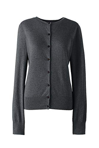 Lands' End Women's Plus Size Supima Cotton Cardigan Sweater, 2X, Charcoal Heather