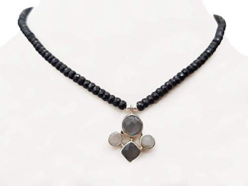 Grey White Moonstone Silver pendant with Black Spinel Beads Necklace Strand with Sterling Silver (Necklace Black Spinel Bead)