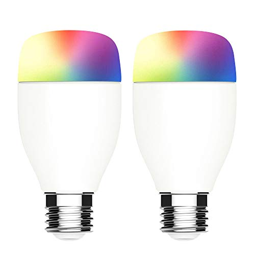 WiFi Smart Bulb Smart Light Bulb Compatible with Alexa & Google Home, No Hub Required, LINGANZH 7W E26 WiFi Smart Multicolor LED Bulb Color Changing Light Bulbs, 2 Pack