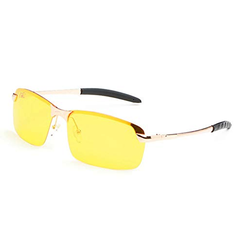 Haluoo Polarized Sports Sunglasses Night Driving Sun Glasses Shades UV400 Vision Anti Glare Drivers Glasses for Men Women for Cycling Baseball Running (Gold)