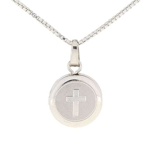 Religious Cross Locket Round in Sterling Silver with Room For 2 Photos: 18in (Locket Religious Cross)
