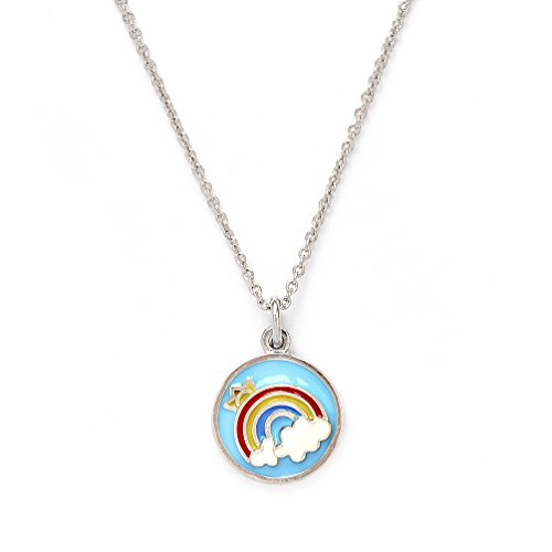 Girls Silver Rhodium Plated Wishes Rainbow Pendant Expandable Necklace by Chrysalis (Image #3)