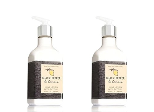 Set of 2 Bath and Body Works Black Pepper & Lemon Hand Lotions with Olive Oil 10 Ounce Each by Bath and Body Works