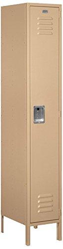 (Salsbury Industries 51168TN-U Single Tier 15-Inch Wide 6-Feet High 18-Inch Deep Unassembled Extra Wide Standard Metal Locker, Tan Brown)