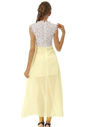 vestidos largos mangas Mujer de Yellow encaje gasa miusol fiesta De sin wzzXxT1q