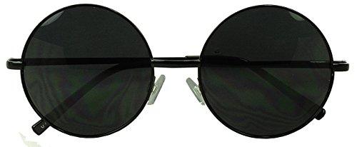 Womens Large Oversize Round Metal Vintage Vault Circle Xl Sunglasses (Black)