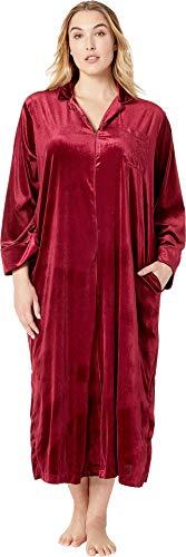 (Lauren Ralph Lauren Women's Plus Size Velvet Long Sleeve Notch Collar Zip Front Caftan Red Small)