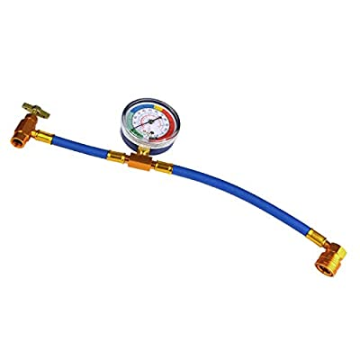 FAVORCOOL R134A Car Air Conditioning Refrigerant Charging Hose kit with Pressure Gauge,1/2 Acme, AC Recharge Measuring U-Hose Can Tap, Perfect for Automobile and Home A/C Freon Charge U-Hose: Automotive