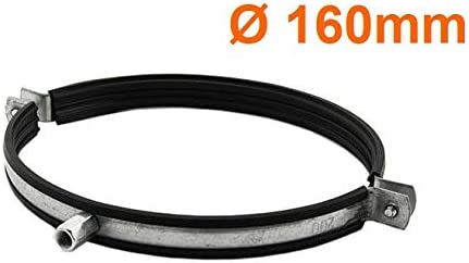 /Ø 160mm 6 Rubber Lined Pipe Clip Anti Vibration Single Metal Pipe Clips Clamp