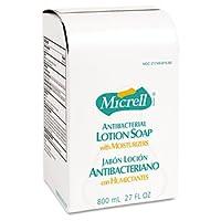 Recambio de jabón de loción antibacteriana GOJO MICRELL, líquido sin perfume, 800 ml, 12 /ctn