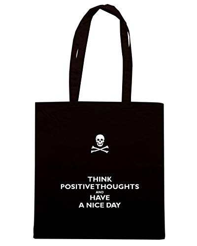 Speed Shirt Borsa Shopper Nera TKC1471 THINK POSITIVETHOUGHTS AND HAVE A NICE DAY