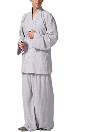 ion Clothing Sets Buddhist Men Casual Suits V-nek Shirt Wide Leg Pants (M) ()
